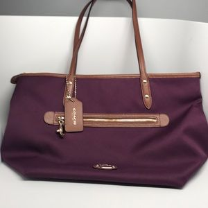 Authentic Coach tote bag Tan and Cranberry